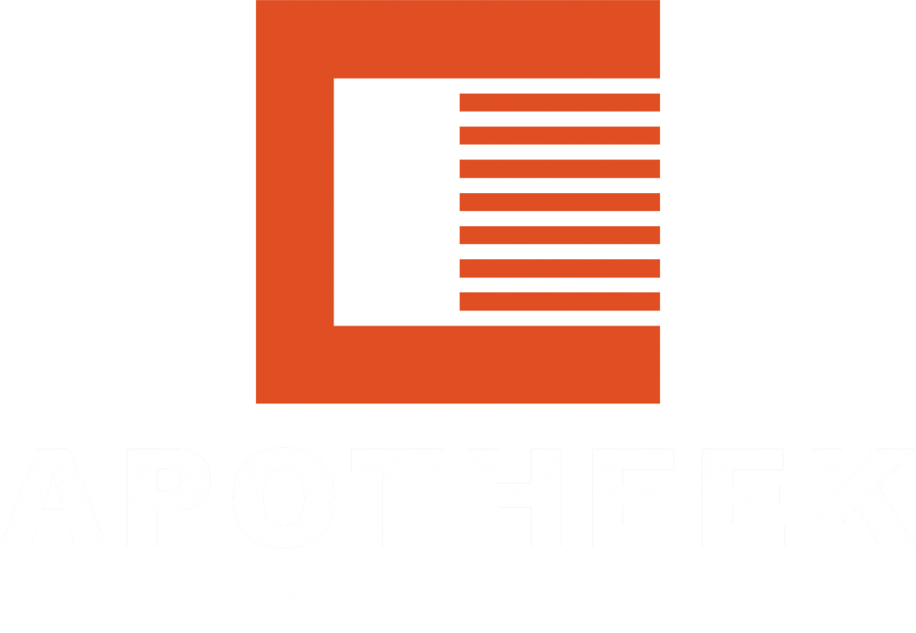 Oranje logo van Apotheek Schelfhout met wit onderschrift 'APOTHEEK SCHELFHOUT'